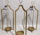 Set de tres Porta velas doradas grandes